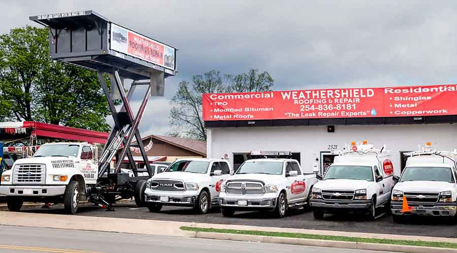 Our Commercial Roofing Truck Fleet in Waco Texas